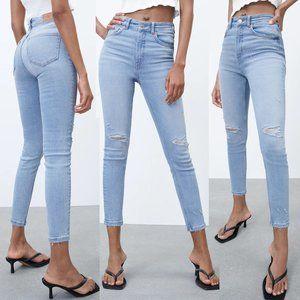 Zara Vintage High Rise Stretch Skinny Blue Jeans 2
